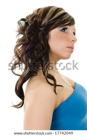 stock photo : Brunette with long hair and blonde highlights standing in