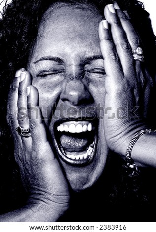 Brunette Woman Going completely Crazy and screaming