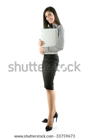Brunette woman hug laptop computer, she love her work