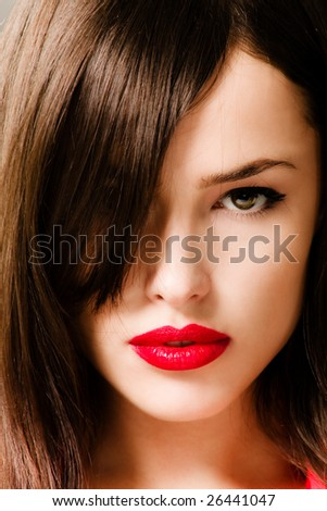 brunette woman portrait with red lips