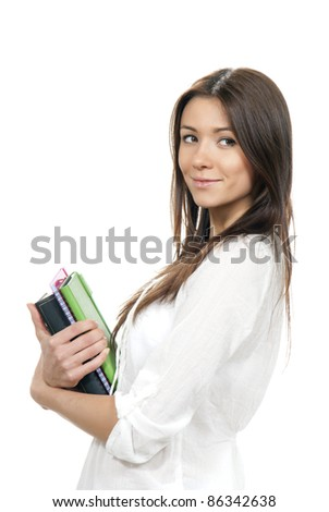 Brunette woman student hold books, textbooks, notebook, homework study assignment in library isolated on white background