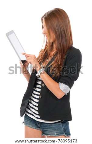 Brunette woman typing on her new electronic tablet touch pad one finger touches the digital screen isolated on a white background