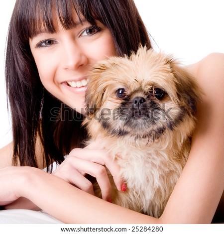 Brunette woman with a cute little pekingese