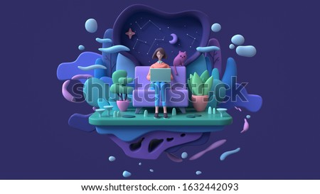 Brunette woman with a laptop sitting on a sofa late at night. Abstract concept art lazy sedentary lifestyle of a young freelancer working from home with cat, plants. 3d illustration on blue background