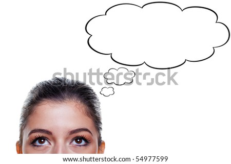 Brunette woman with big brown eyes looking upwards with thought bubbles above her head, isolated on white background.