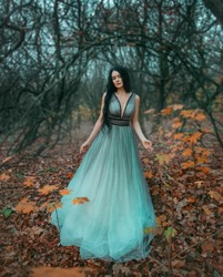 brunette woman with long hair walks in autumn forest of November. Background black bare trees and fallen orange leaves. Queen enjoys nature. Royal luxury puffy turquoise dress. Graduation Party Image