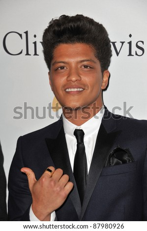 Bruno Mars at the 2011 Clive Davis pre-Grammy party at the Beverly Hilton Hotel. February 12, 2011  Beverly Hills, CA Picture: Paul Smith / Featureflash