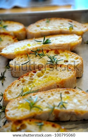 Bruschetta ( typical Italian Toasted Garlic Bread with oil )