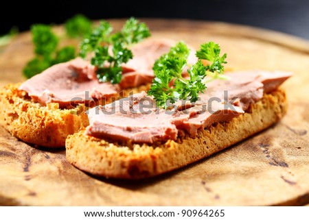 Bruschetta with liver pate - gourmet food