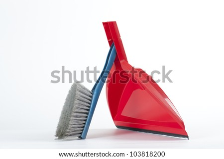 brush and dustpan, on white background