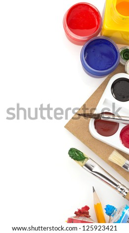 brush and paint  isolated on white background