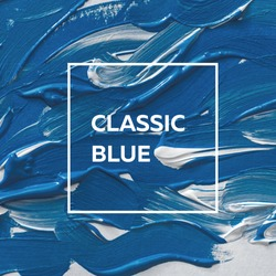 brush and paint texture on paper pantone classic blue. Color of the year 2020