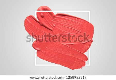 brush and paint texture on paper with geometric frame , living coral. Color of the year 2019. living coral #1258952317