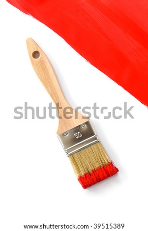 Brush of red painting on white background with red corner