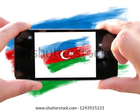 brush painted flag of Azerbaijan,Hand drawn style
