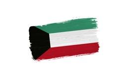 brush painted flag of Kuwait isolated on white background