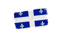 brush painted flag of Quebec isolated on white background