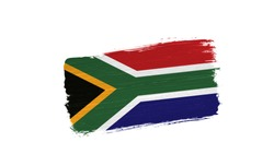 brush painted flag of South Africa isolated on white background