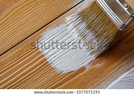 Brush stains white pine boards. staining concept #1077071195