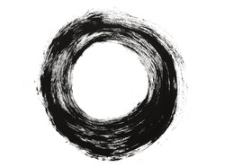Brush stroke circle texture. Isolated on white.