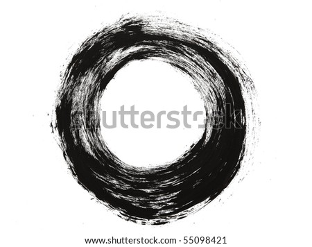 Brush stroke circle texture. Isolated on white.