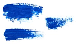 Brush Strokes of blue paint isolated on white background
