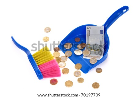 Brush sweeping euro coins and banknote isolated on white