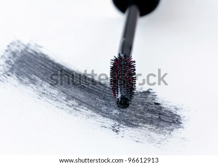 brush with black mascara  for makeup
