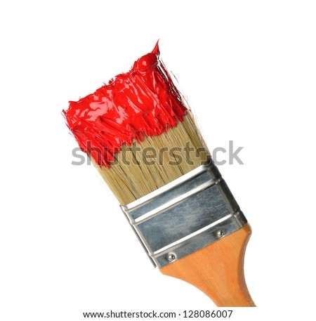 Brush with bright red paint isolated on white background