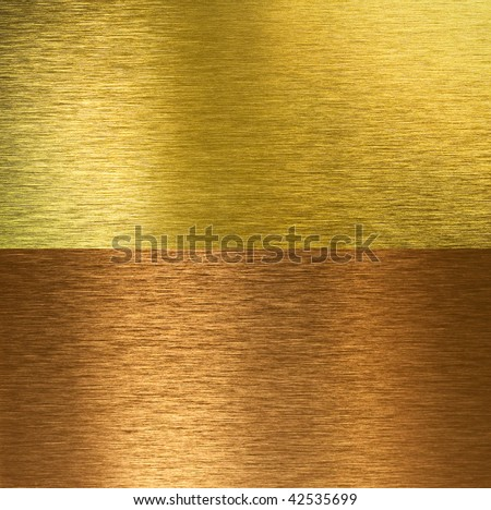 Brushed bronze and brass stitched textures - stock photo