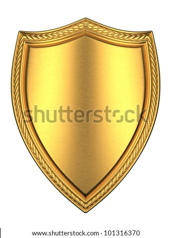 Brushed gold shield.