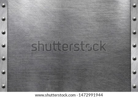 Brushed iron plate, metal frame with steel rivets