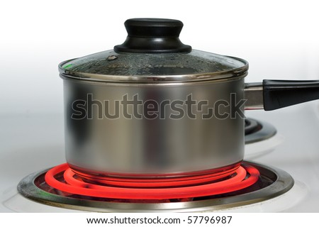 Brushed steel pot on red hot electric stove