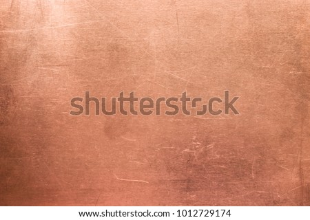 Brushed surface of brass, old plate of copper texture #1012729174