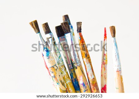 Brushes and art supplies stock photo
