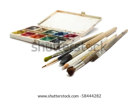 Brushes and water paints on white background