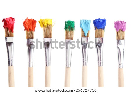Brushes with colorful paints, isolated on white #256727716