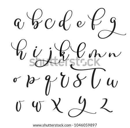 Brushpen alphabet Modern calligraphy handwritten letters.  illustration.