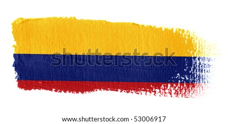 Brushstroke Flag Colombia - stock photo