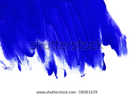 brushstrokes of blue paint on a white background