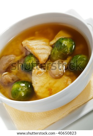 Brussel Sprout Soup with Mushrooms, Chicken Fillet