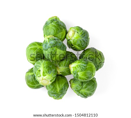 Brussel Sprouts isolated on white background. top view Foto stock ©