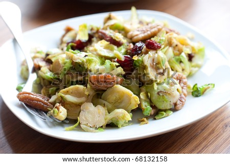 brussel sprouts with pecan and cranberry