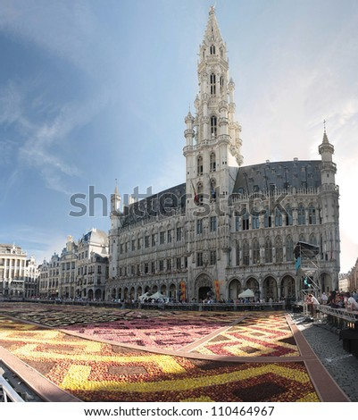 BRUSSELS - AUGUST 17:The Flower Carpet 2012 edition in Grand Place on August 17, 2012 in Brussels. The Flower Carpet contains a million colorful begonias and is  organized in Brussels every two years.