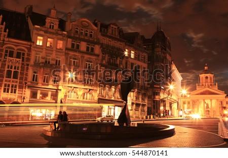 BRUSSELS, BELGIUM   AUGUST 18, 2015: Night View In The Center Of Brussels