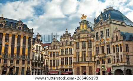 BRUSSELS, BELGIUM - FEBRUARY 9 : Houses of the famous Grand Place on February 9 2013, Brussels, Belgium. Grand Place was named by UNESCO as a World Heritage Site in 1998.