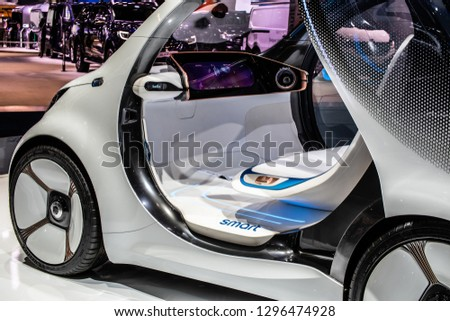 Brussels, Belgium, Jan 18, 2019: Show car: Smart Vision EQ fortwo Mercedes-Benz concept at Brussels Motor Show, prototype of future car created by Mercedes Benz #1296474928