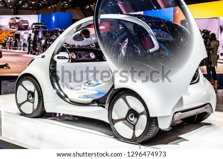 Brussels, Belgium, Jan 18, 2019: Show car: Smart Vision EQ fortwo Mercedes-Benz concept at Brussels Motor Show, prototype of future car created by Mercedes Benz #1296474973