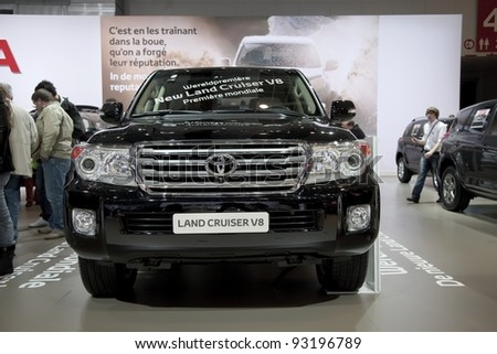 BRUSSELS, BELGIUM - JANUARY 12: Annual autosalon brussel 2012 auto motor show in Heysel expo hall. Toyota Land Cruiser V8 on display.  January 12, 2012 in Brussels,  Belgium