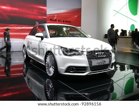 BRUSSELS, BELGIUM - JANUARY 15: Audi A1 e-tron shown at Euro Motors 2012 exhibition on January 15, 2012 in Brussels, Belgium